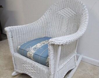 Antique Wicker Outdoor Patio Porch Rocker Rocking Chair
