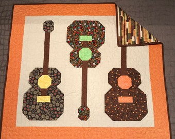 Fall Pickin handmade baby quilt; perfect for tummy time, cartoon snuggles, or gift; ready to ship