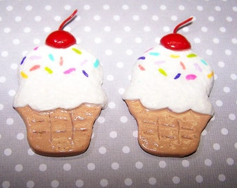 Ice Cream, White, Candy Sprinkles, Dessert, Vanilla, Summertime, Ornament, Handmade, Polymer, Clay, Free Shipping, Cherry,