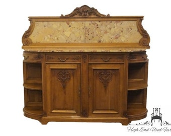"""Antique 1920's Ornate Marble Top Louis XVI French 79"""" Buffet / Sideboard"""