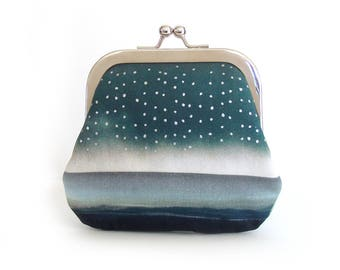 Large coin purse, credit card pouch, storm, blue raindrop