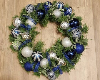 Blue and Silver Garland Christmas Wreath, Christmas Wreath, Holiday Wreath, Front Door Wreath, Holiday Christmas Wreath, Blue, Silver
