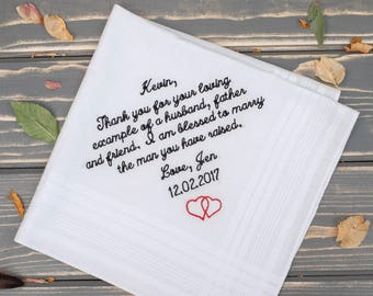 Father of the Groom gift from Bride. Personalized Handkerchief. Embroidered handkerchief. Wedding gift. Father-in-Law  gift hankie