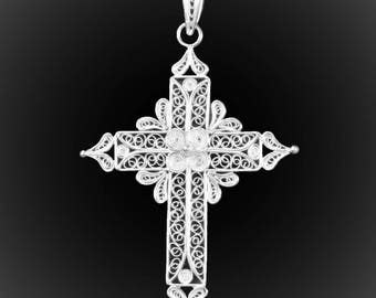 Embroidered silver crusade pendant