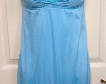 Vintage 70s 'Lovable' blue lingerie chemis, size 34, UK 8, US 4
