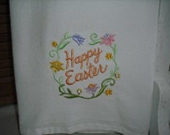 Easter flour sack towel. Machine embroidered.