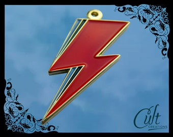 David Bowie Aladdin Sane sterling silver / faux leather necklace with Lightning charm