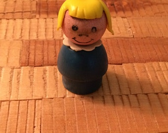 Vintage Fisher Price Little People - Little Girl (Wooden Base)