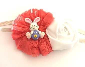 Easter Bunny Embellished Coral Ballerina & White Satin Flower Boutique Headband (13.5 inches Normally Fits NB-6M)