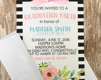 12 floral striped graduation party invitations, printed watercolor flower graduation invites, black and white striped graduation invite