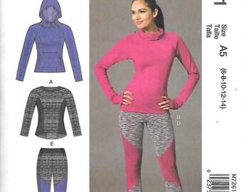 Misses Activewear, Tops, Leggings, Sizes 14 Thru 22, New McCalls Pattern 7261