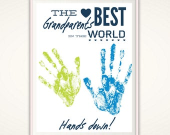Grandparent Gift - Last Minute Christmas Gift, Gifts for Grandparent, Gift from Grandkids, PRINTABLE DIY Handprint Art, Christmas