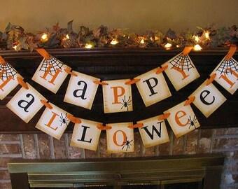 Happy Halloween/Garland/Banner/Party Decoration/Orange and Black/Handmade