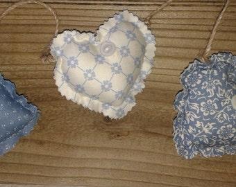 Rustic Mini Fabric Heart Garland Blue