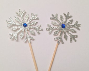 snowflake cupcake topper .. frozen cupcake topper .. silver and blue .. winter wonderland .. happy birthday