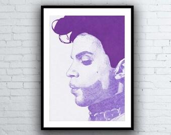 PRINCE Signed Giclée Art Print - Purple Rain Pointillism Portrait Dots Pen Drawing A4 size
