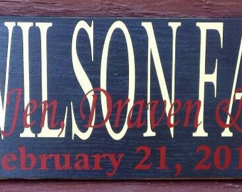 Family Sign Personalized - Housewarming- Wedding- Personalized - Love - Anniversary - Bridal shower
