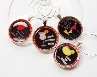 Funny Wine Charms, Wine Charms, barware, Wine Glass Charms, silver plate, entertaining, table setting, humor, funny charms (2712)