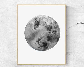 50% OFFWatercolor Moon Print, Grey Moon Art, Full Moon Print, Moon Art Print, Watercoluor Moon Poster, Celestial Print, Modern Wall Art