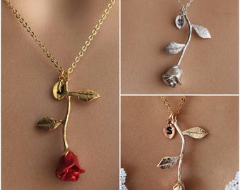 Original Red Rose Necklace, Gold Rose, Beauty and the Beast Necklace, Anniversary Gift, Personalized Bridesmaid gift, Initial Necklace