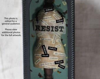 RESIST Shrine, Mature Language, Found Object, Assemblage, Shrine, Grotto, Resist Movement, Shadow Box