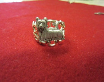 Sweet Silky Terrier Figural Ring-One of a Kind