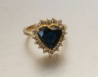 18K Gold Heart Shaped 3 Carat Natural Sapphire Diamond Engagement Ring. Size 5.5.  Dark Blue Sapphire Anniversary Renewal Love Token Ring
