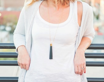 Minimal Necklace - Long Gray Necklace - Long Necklace Slate Gray Leather Tassel - Minimal Tassel Necklace