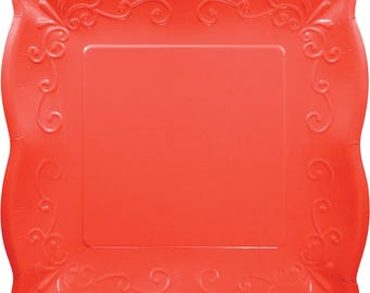 48 Coral Red Embossed Paper Plates ~ 10\  or 7\  Square ~ Scalloped Pottery  sc 1 st  Etsy & 48 Ivory Embossed Paper Plates 10 or 7 Square