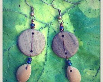 Walnut and cherry plum kernel earrings