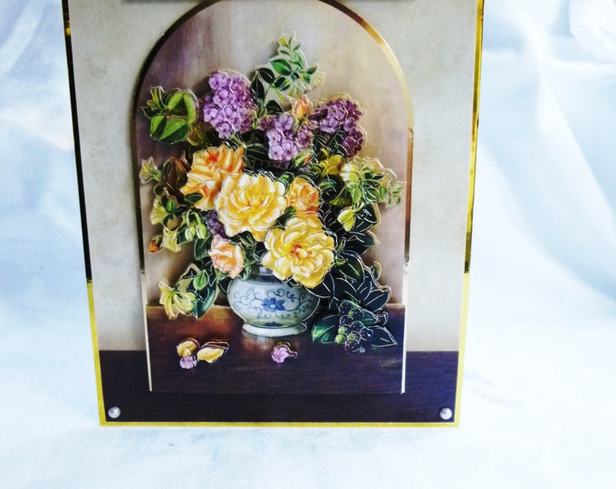 Floral 3D Decoupage Card, Birthday Card, Yellow and Pink Flowers, Greeting Card, Any Occasion Card, Special Birthday Card, Female, Any Age