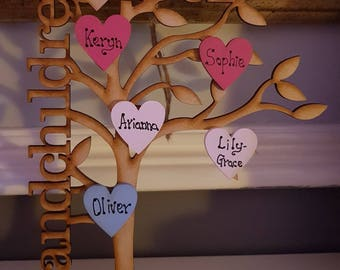 Family tree - grandchildren - grandparent gift - personalised- mothers day-personalized gift