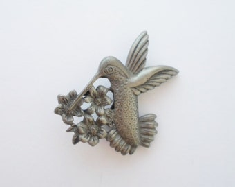 Vintage Torino Hummingbird Pewter Brooch, Bird Lover, Collectible, Jewelry, Costume Jewelry, Pin, Bird Brooch