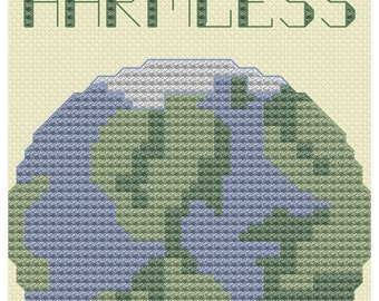 cross stitch pattern Mostly Harmless  Douglas Adams Hitchhiker's Guide to the Galaxy