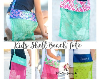 Personalized Shell tote bag , kids beach bag, beach tote, Shell bag, monogrammed beach bag, shell tote beach bag, kids personalized tote