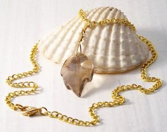 Handmade Leaf Necklace, Swarovski Golden Shadow Leaf Necklace, Swarovski Necklace, Crystal Leaf Necklace, Reduced Price
