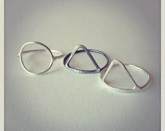 Statement Silver Rings-Geometric Rings-Sterling Silver-Knuckle Rings