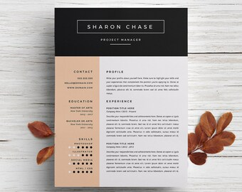 minimal resume template cover letter template for word diy printable 3 pack project manager modern and creative design