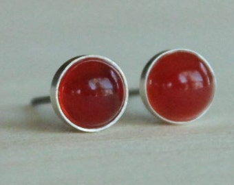 Carnelian Gemstone 6mm Bezel Set on Titanium or Niobium Posts - Hypoallergenic & Nickel Free Stud Earrings for Sensitive Ears