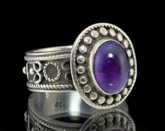 925 Sterling Silver & Amethyst Granulated Ring, Size US 8 (UK, Aus P1/2) #063