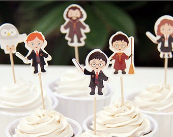 Wizard Harry and Friends Cupcake Toppers 24 pcs/set/Party Decorations/Birthday Decorations
