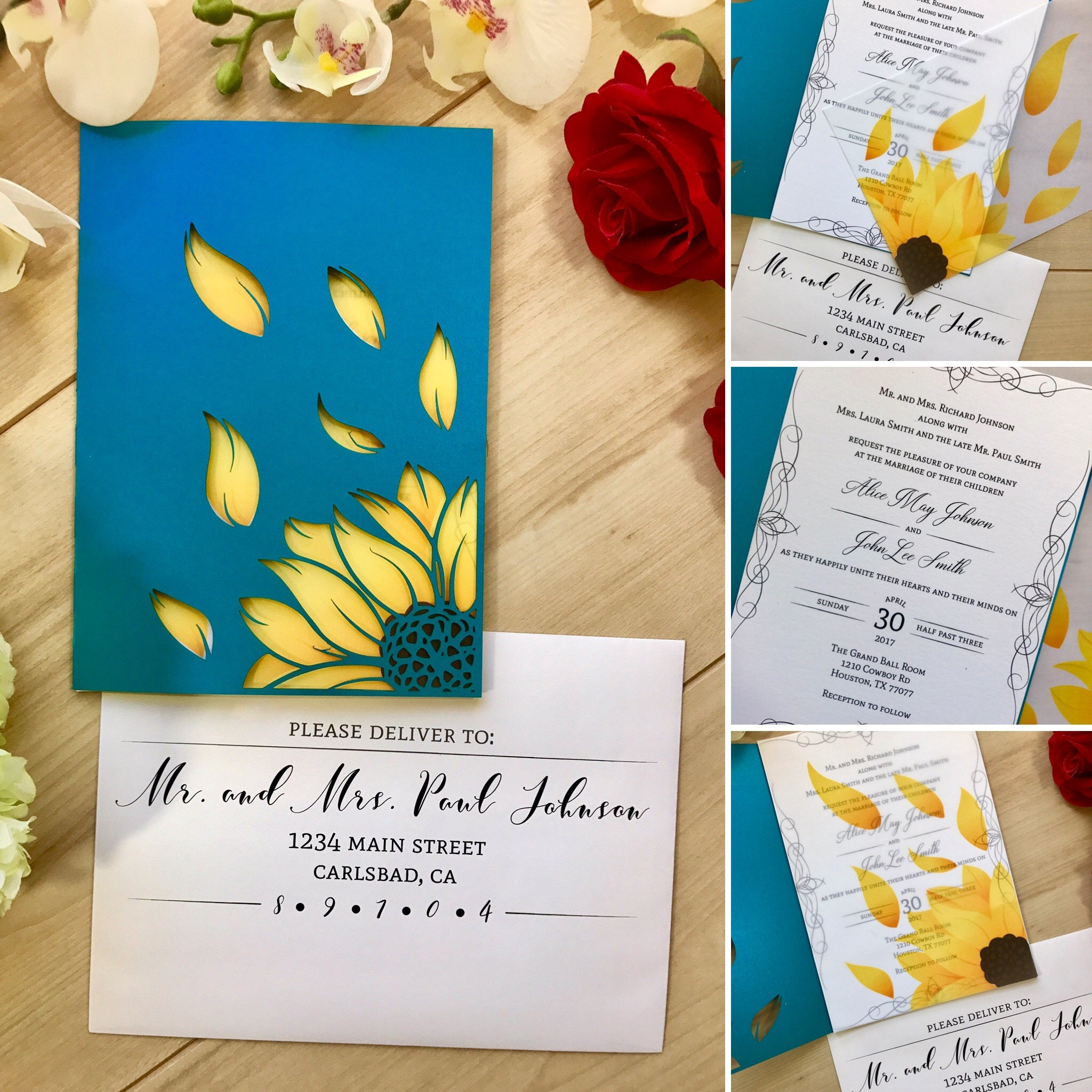 sunflower laser cut modern rustic wedding invitation unifold