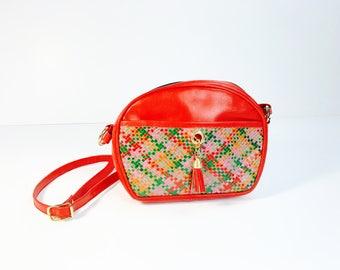 Red handbag, Vintage, 70s 80s, woven