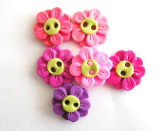 Button Double Daisies handmade polymer clay buttons ( 6 )