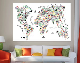 Giant world map etsy multicolored world map abstract world map detailed world map wall art with countries names canvas print gumiabroncs Choice Image