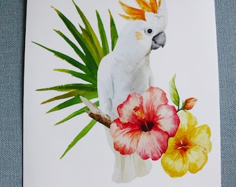 Flower hibiscus and white Parrot cockatoo poster A4 poster