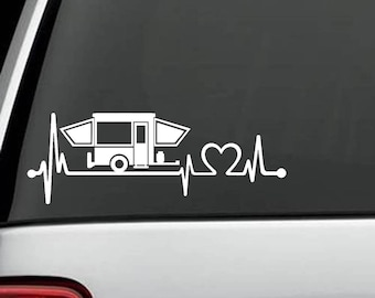 K1150 Pop Up Camper Travel Trailer Heartbeat Lifeline 8 Inch Decal Sticker