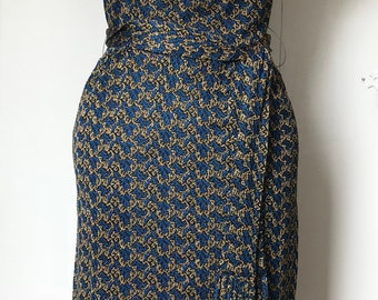 Vintage 1950s Metallic Blue and Gold Dress - Mad Men Style