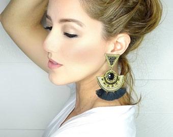 Threader Earring, Geometric Gold Studs, Druzy Earrings, Ethnic Boho Earrings,Large Earrings,Wedding Earrings,Tassel Earrings ,Black Earrings