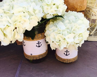 Mason Jar Wrap, Anchor, Natutical, Navy Blue, Wedding, Shower, Party, Centerpiece, Decoration